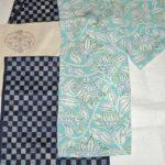 水色の変わり織更紗で、きれいな羽織にしてみたら